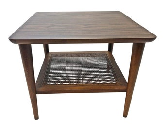 Danish Modern LANE ACCENT TABLE ~ Cane Wicker Shelf mid century vintage end side eames era 2 tier brown laminate wood wooden 50s 60s walnut