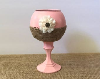 Pink Candle Holder wrapped in Jute Twine