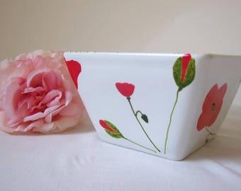 "Handpainted ceramic square bowl ""coquelicots"" poppies poppy"