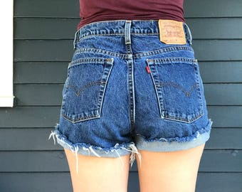 "Levi High Waist Denim Shorts, Size 33"", Festival Shorts, Cut Offs"