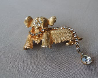 Vintage Mid Century Puppy Dog Brooch With a Rhinestone Leash Signed Hattie Carnegie