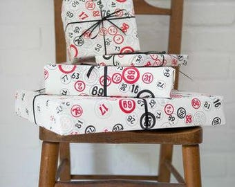 Luxury Bingo Gift Wrap And Tag by VINTAGE PLAYING CARDS