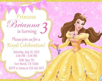 Princess Belle Invitation, Princess Belle Birthday, Princess Belle Party