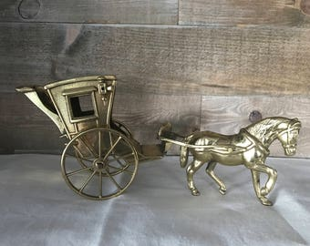 Brass Horse and Carriage Large Size