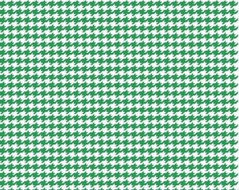 4th of July Sale Houndstooth - Kelly Green and White Cotton Fabric by the Yard