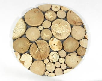 Trivet/handmade with natural wood slices