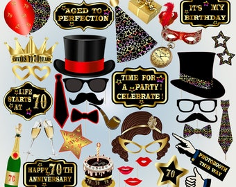 70th photo booth props printable photo booth props birthday party props printable birthday photobooth black props  birthday party hats
