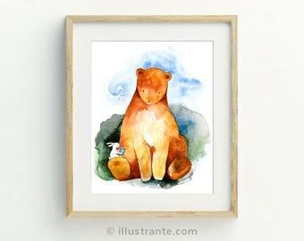 Childrenu0027s Art Print, Bear Nursery Decor, Bear Nursery Art, Bunny Nursery  Print,