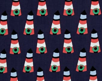 Lighthouses - Whale of a Holiday Lighthouse - Dear Stella JL540  Christmas Lighthouse Navy and White Premium Cotton Fabric