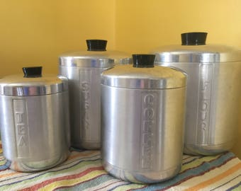 Large Vintage Spun Aluminum Kitchen Canister Set