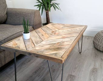 Chevron Pattern Top Reclaimed Timber Coffee Table KALASABA
