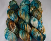 Hand Dyed Sock Yarn 100% superwash extrafine merino, hand dyed wool, variegated sock yarn, speckled, teal, turquoise, brown, rust, orange