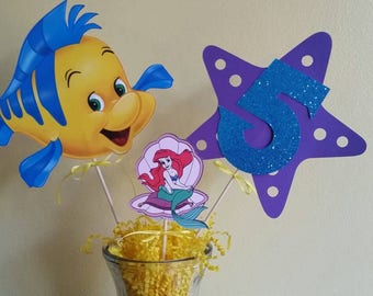 Little mermaid Centerpieces, Cupcake toppers, Birthday Banner, Thank You Tags, Custom Designs