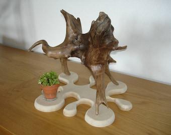 """Sculpture en bois flotté """"pause pipi"""" Oboisdormant"""