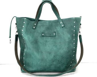 Large green hand stitched leather weekender bag, tote bag
