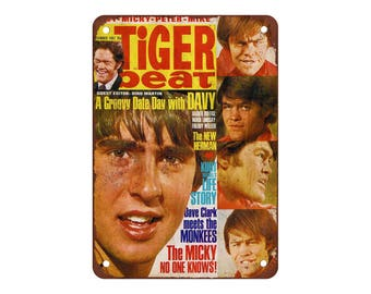 """Monkees Tiger Beat - Vintage Look Reproduction 9"""" X 12"""" Metal Sign"""