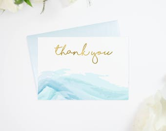 Gold Foil Blue Watercolor Thank You Cards, Perfect Gift for Yourself or Loved One, Also in Silver Foil