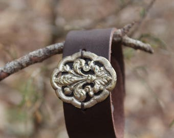 Leather Cuff with Fleur de Lis