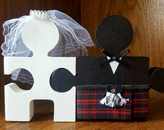 Custom Wooden Scottish Bride & Groom Mr And Mrs Wedding Jigsaw cake topper or table decoration or Center PIece