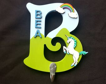 Personalised Girls Boys Unicorn Rainbow Hand Painted Door Sign Plaque Letter Coat Hook Dog Lead Hanger