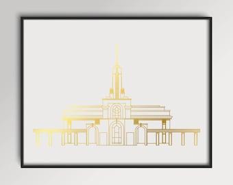 LDS Mount Timpanogos Utah Temple Gold Foil Print