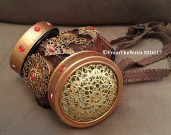Steampunk Respirator Dust Mask for Burning Man, Festivals, Halloween, Post-Apocalyptic Cosplay, Gold Dust Mask Gold Bronze Steampunk Mask
