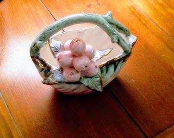 Vintage Majolica - Decorative Berry Basket - circa 1950's