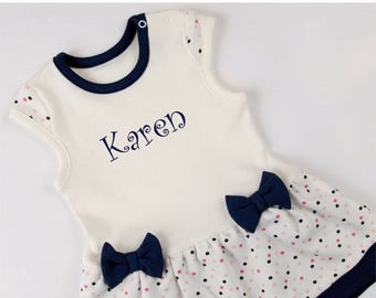 LATE SHIP SALE Personalized Baby Bodysuit Dress, Navy Blue/Cream/Polka Dots Baby Dress, Newborn to 12-18 months, Personalized Baby Gift
