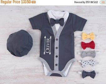 LATE SHIP SALE Personalized Baby Boy Gift, Graphite Gray Cardigan, Bodysuit, Hat & Bow Tie Set, Baby Boy Outfit, Newborn Photo Prop, Newborn