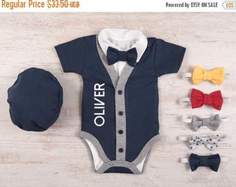 LATE SHIP SALE Baby Boy Coming Home Outfit, Personalized Short Sleeve Navy Cardigan, Bodysuit, Hat & Bow Tie Set, Baby Boy Clothes, Baby Boy