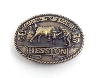 Vintage 1981 HESSTON NFR National Finals Rodeo Western Cowboy Brass Belt Buckle