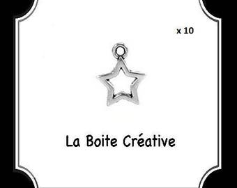 10 CHARMS STAR METAL SILVER CHRISTMAS PARTY