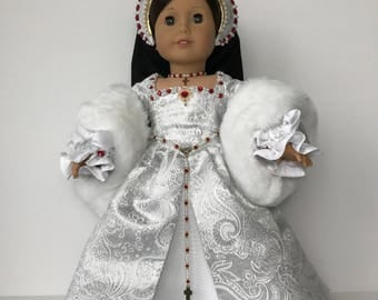 "American Girl Doll 5 Piece ""Caterine Howard"" Tudor Gown"