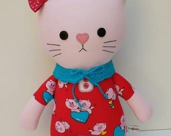 cute cat, cat doll, cloth cat, handmade dolls, cat girl, cat rag doll