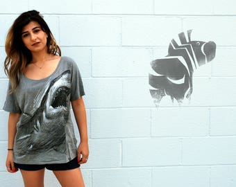 SHARK Tee - Women's Illustration Tee - Animal Art - Wide Neck Loose Fit - David Colman Original