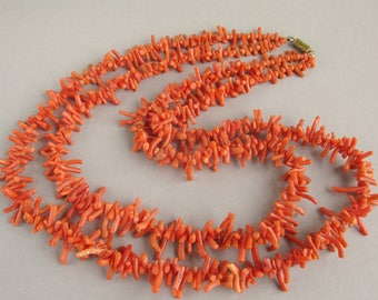 Natural Untreated Mediterranean Coral, Natural color beads, Coral branch, 2 threads. +Gift