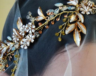 Bridal headpece, gilded flower halo, champagne crystal headband. ESTELLE.