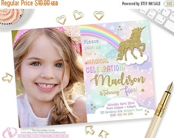 ON SALE Unicorn Invitation, Rainbow Invitation, Magical Birthday Invitation, Unicorn Birthday Invitation, Rainbow Birthday Invitation,