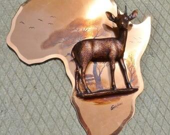 Rare vintage GASTONE  Copper Deer Figurine on wall hanging Africa plaque