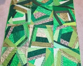 Green lap crazy quilt