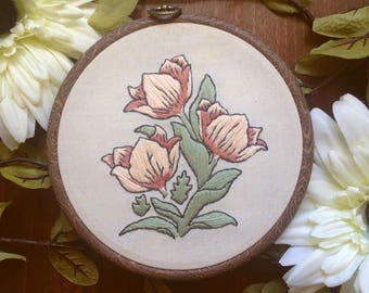 William Morris floral botanical embroidery