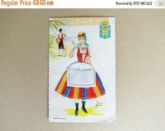2nd ANNIV SALE 60s - 70s Spanish Vintage Embroidered Traditional Costume Postcard / Tenerife (canaria)