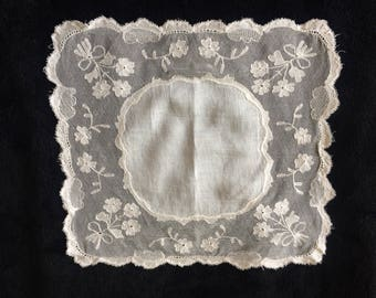 Flower Handkerchief, Lace Square, Antique Lace Handkerchief, Bridal Handkerchief, Something Old, Bridal Gift, Vintage Lace.