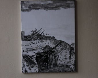 "signed original drawing ink China and wash on canvas ""juno beach"""