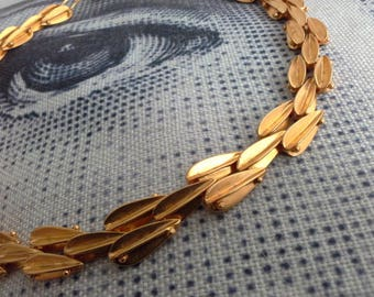 Unique 70s Anodised Aluminium Golden Orange Modernist Chain Link Collar Choker Necklace Artisan Signed