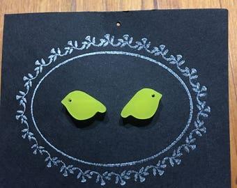 Acrylic Yellow Bird Stud Earrings