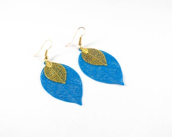 Prints lagoon blue and golden leaf earrings