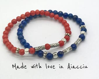 Bracelet in coral or lapis lazuli and silver