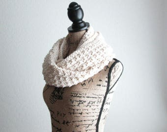 Soft Cotton Infinity Scarf - Ivory Crochet Scarf - Knit Infinity Scarf