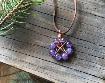 Pentacle necklace, Amethyst necklace, Amethyst pentacle, Wiccan jewelry, Pagan jewelry